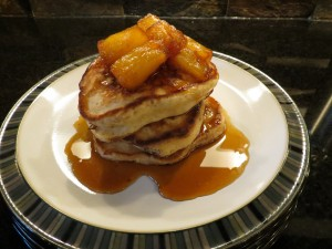 Sour Cream Breakfast Pancakes with Caramelized Pineapple Topping