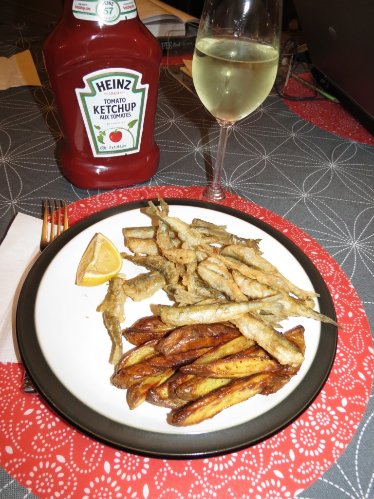 Of course, if you prefer, you can always fry your dredged smelts and serve them with plenty of ketchup and lemon wedges.  Pass the salt!