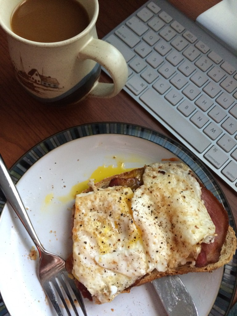 Another busy day, and this one is fuelled by a classic breakfast/lunch plate of eggs and bacon over toast, with a side of hot coffee.