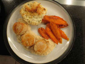 Seared Scallops with Pear and Celeriac Puree