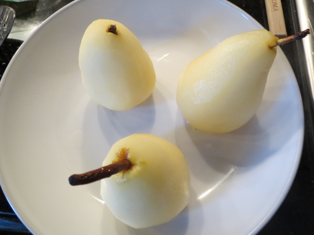 Poached pears.  Ready to be dunked into the cake batter.  If I wasn't making the cake, I'd pour melted chocolate all over them and call it dessert!