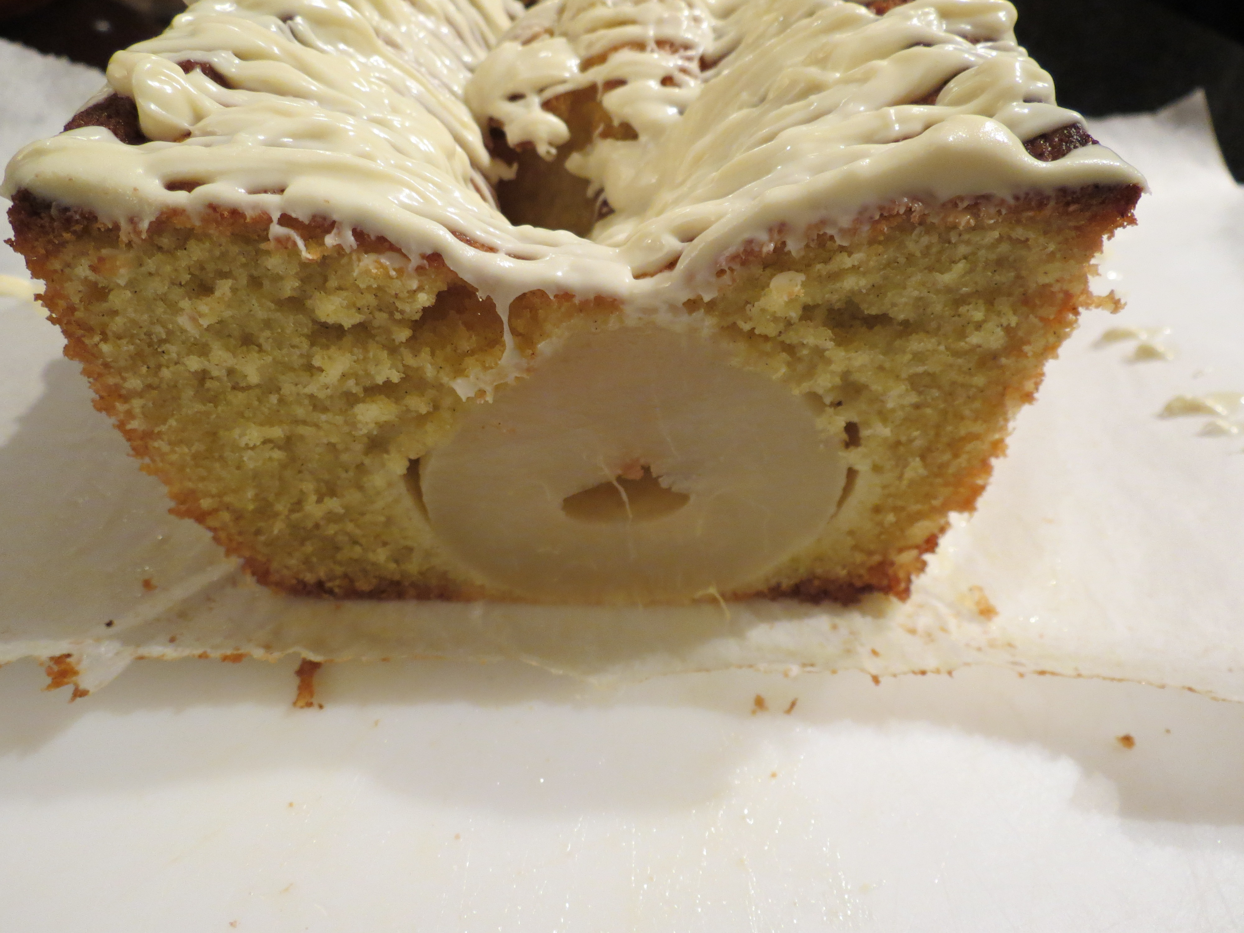 Cardamom Cake with Whole Pears and White Chocolate