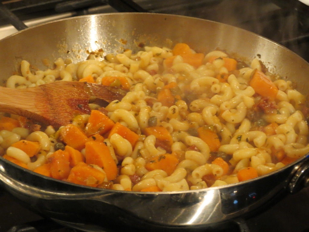 All of the pasta ingredients simmering in one large skillet...this smells so good!