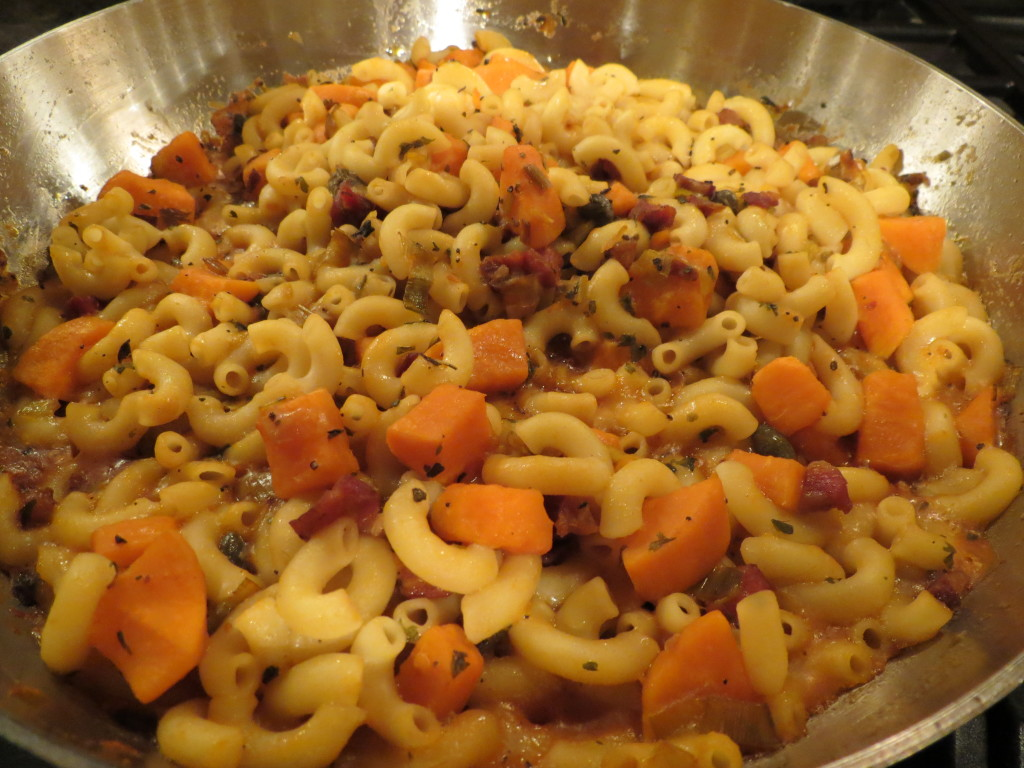 In her cooking show, Lidia advises to scoop out some pasta cooking water to thicken your sauce as you're cooking.  This is wise advice, and true to the Italian method of cooking, wastes nothing, not even the pasta cooking water!  The bonus:  your pasta sauce tastes fabulous with little effort.