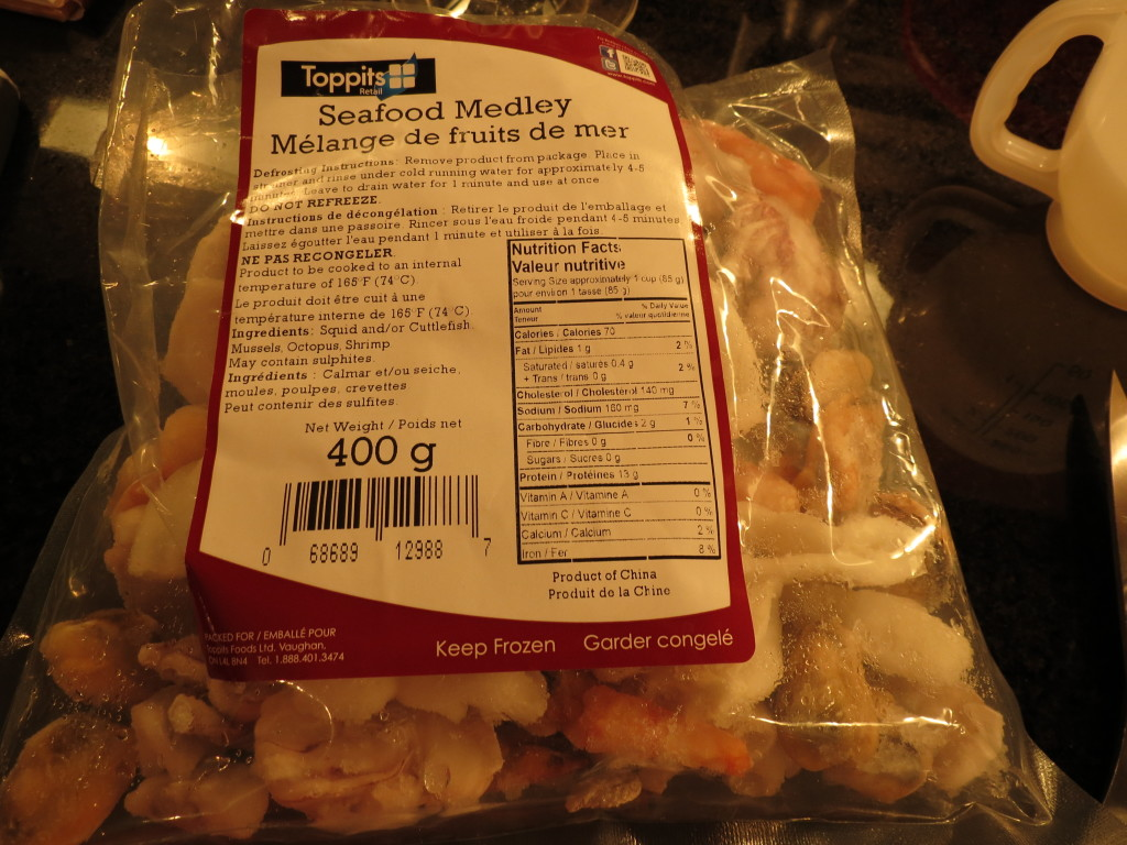 My newest permanent freezer addition - bags of mixed seafood for a quick pantry dinner for two, anytime.