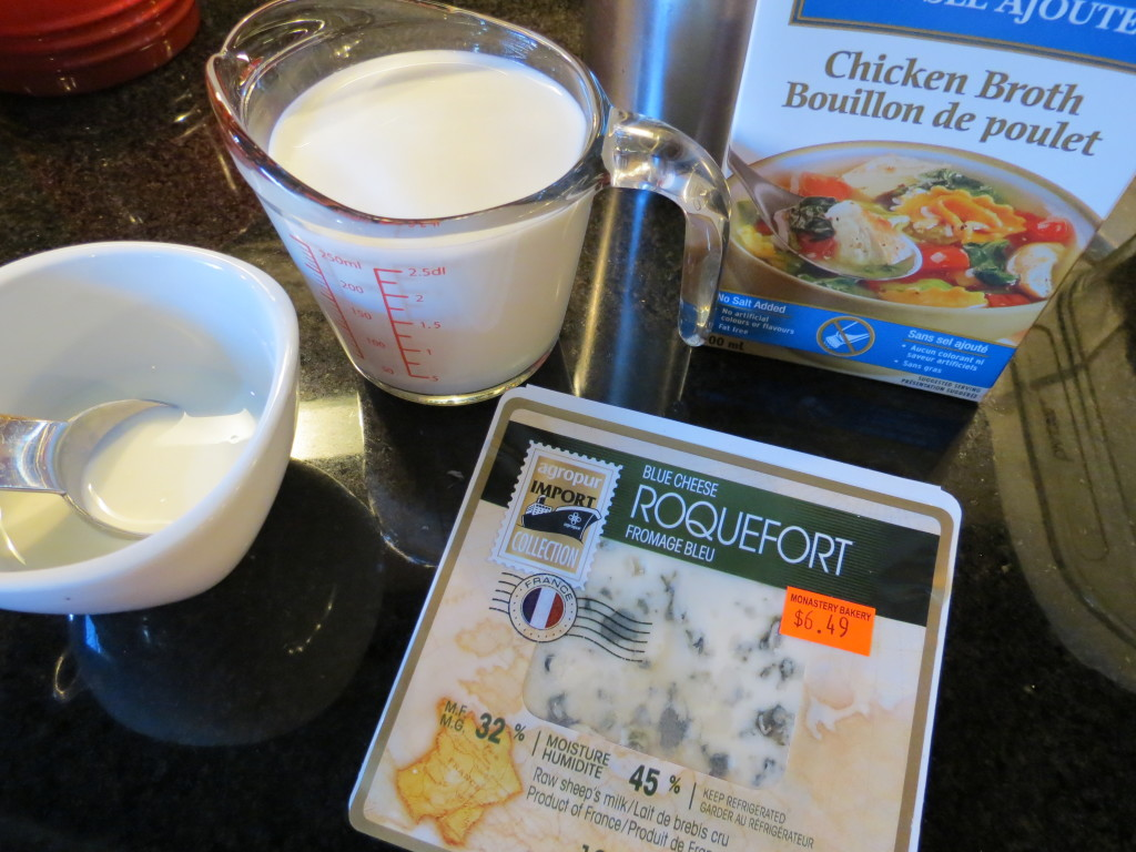 Our cast of characters for this recipe: blue cheese, milk, chicken broth, and heavy cream. Not for the diet crowd.